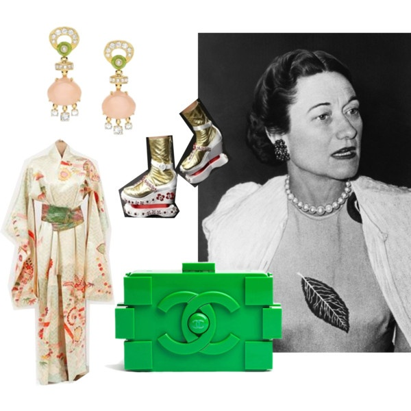Wallis Fashion Contest - Wallis Simpson Inspired moodboard by La stanza degli armadi blog - Chanel Lego bag - Prada Kimono platforms