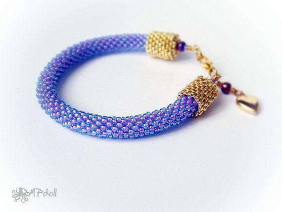 Is It Love  Bead Crochet Bracelet Crochet Rope Beaded Blue