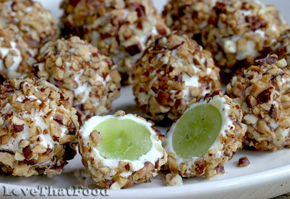 grapes wrapped in cream cheese flavored with crystallized ginger ...