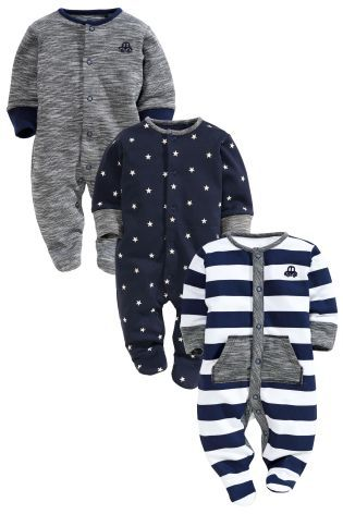 Buy Three Pack Navy Stars And Stripe Sleepsuits (0mths-2yrs) from the Next UK online shop