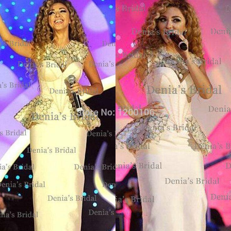 2014 Vintage White Vestidos Myriam Fares Corset Evening Gowns Peplum Rhinestones Celebrity Dresses