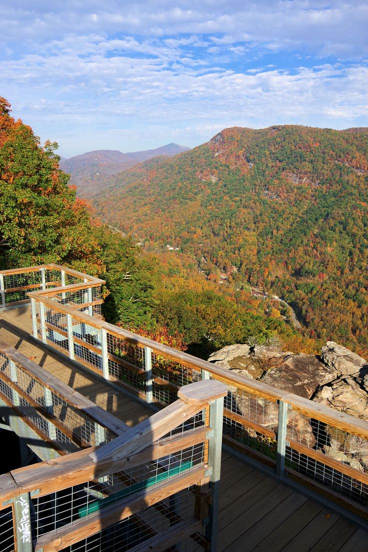 Find this spot! Walking on the edge of Hickory Nut Gorge at Chimney Rock State Park in North Carolina