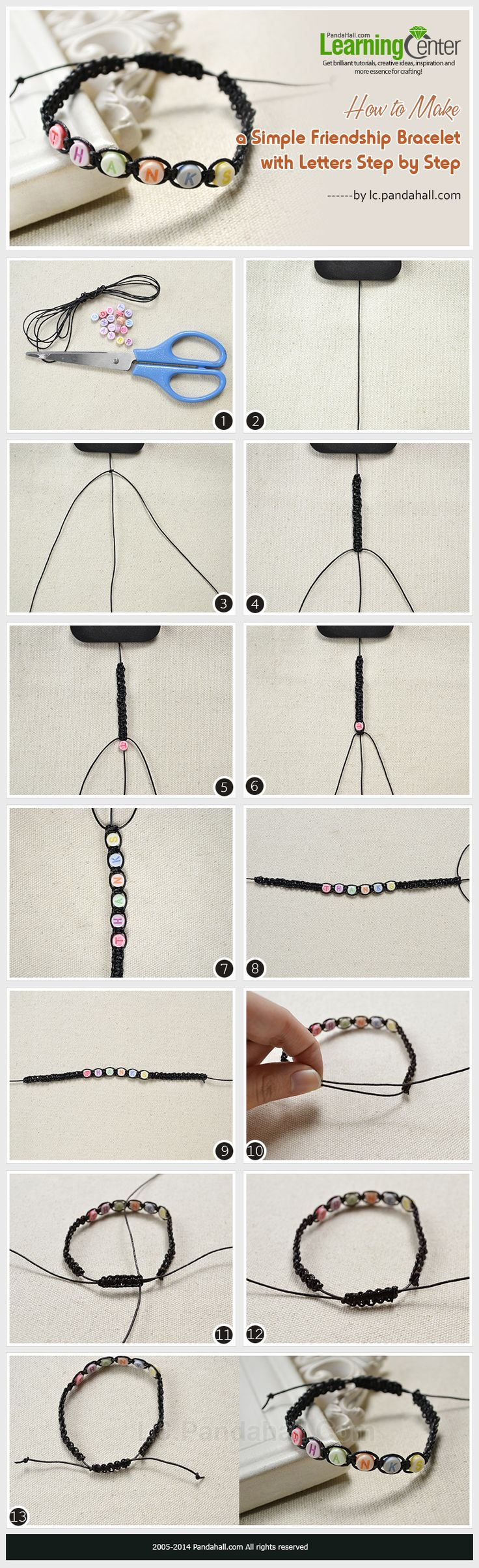 How to Make a Simple Friendship Bracelet with Letters Step by Step