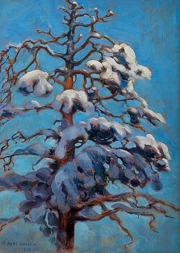 AKSELI GALLEN-KALLELA, SNOWY PINE-TREE. Sign. 1899. Oil on board, 46x35 cm.. - International Autumn Sale, Helsinki F156 – Bukowskis