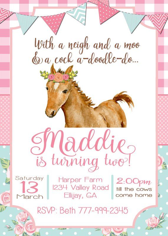 horse birthday invitation farm birthday party neigh moo avery