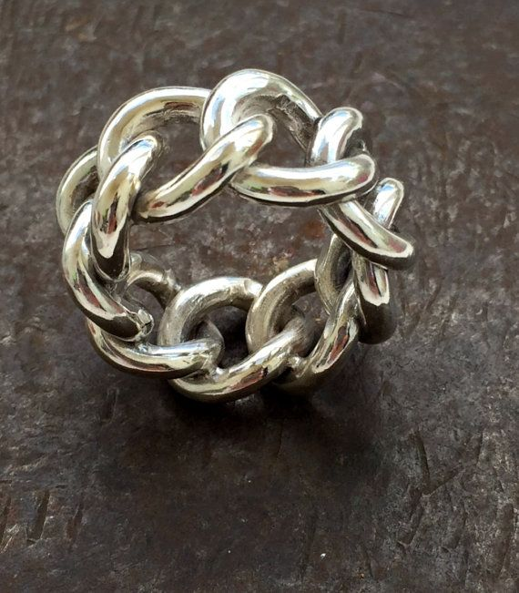 28e8cbe9f 925 Sterling Silver mens ring. Big mens ring. Mens silver ring. Bikers ring.  Braided mens ring. Chunky chain ring. Heavy Ring. Male ring | Men rings |  Mens ...