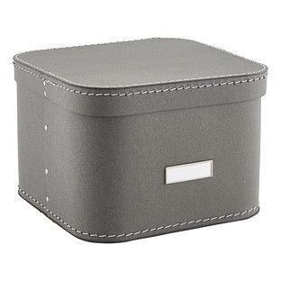 Grey Oskar Storage Box with Lid-Mudroom storage