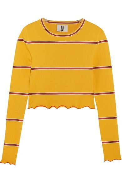 TOPSHOP UNIQUE Margot Striped Stretch-Knit Top. #topshopunique #cloth #tops