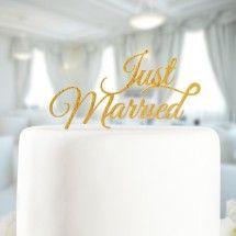 Tortenaufsatz Just Married gold
