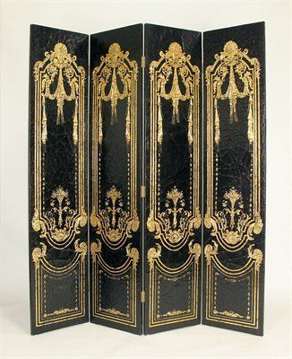 Oriental Furniture WB-2241 French Scroll Screen Room Divider, Black - Home Furniture Showroom $518