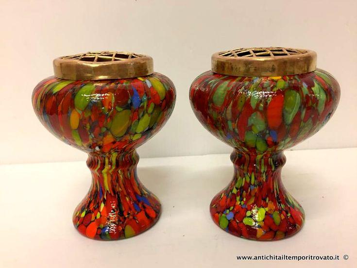 Oggettistica d`epoca - Vetri Coppia di vasi in vetro multicolore - Vasi per fiori dèco con grata Immagine n°1