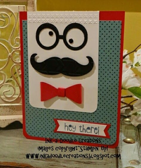 #stampinup, #inkadoodlecreations, ink a doodle creations, stampin up, just sayin, mustache framelit, bow maker punch, stylin stampin inkspiration, masculine