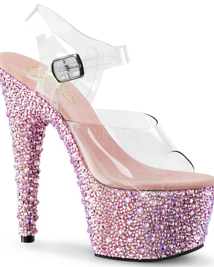 Rhinestone Encrusted 7 Inch/ Ankle Strap Stripper Shoe from Sassy Assy Clubwear. Saved to Things I want as gifts.