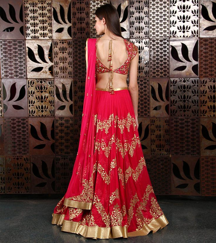 Red Appliqued Net Lehenga