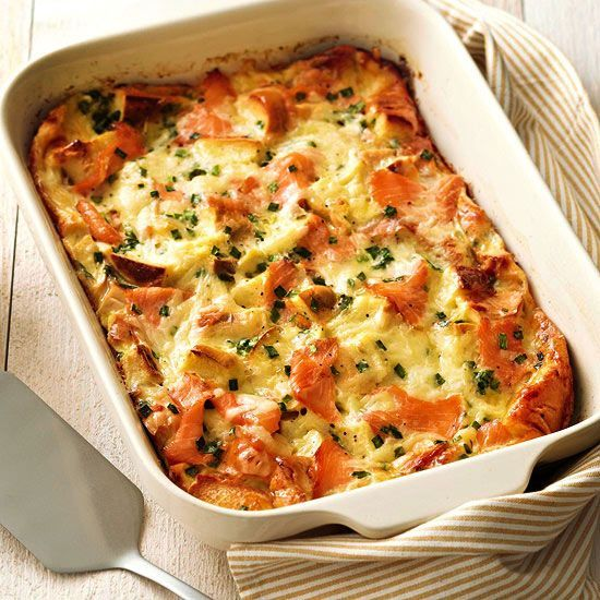 Lox on top of a bagel, sure. But lox and bagels in a buttery strata layered with two types of cheeses...AND it can be chilled for up to 24 hours ahead of time? We may have found our new favorite breakfast casserole./