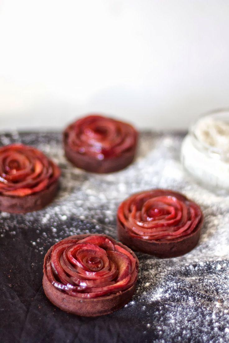 mulled wine plum rose tarts with dark chocolate ganache