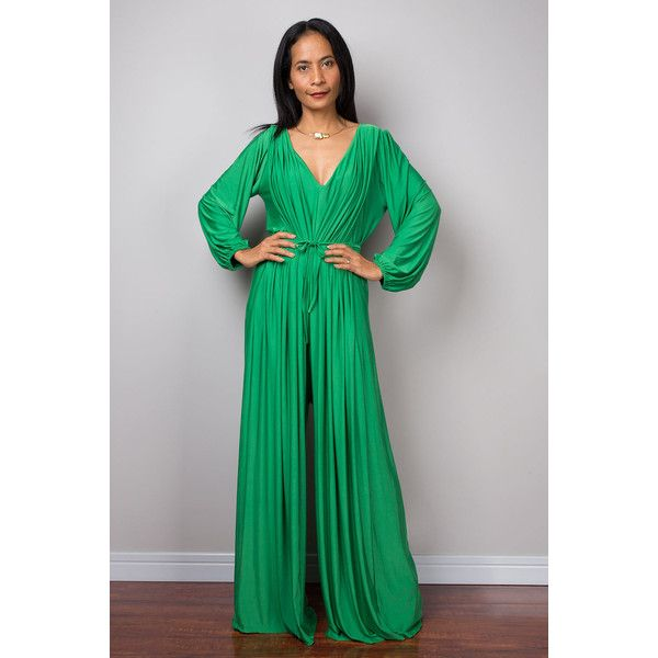 Green Jumpsuit Milo Green Jumper Maxi Dress Long Sleeve Jumper Chic &... ($59) ❤ liked on Polyvore featuring jumpsuits, grey, jumpsuits & rompers, women's clothing, grey romper, v neck romper, maxi jumpsuit, gray jumpsuit and green romper