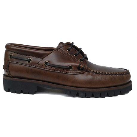 Zapato náutico marrón con goma vibram de Ashcroft. Vista lateral