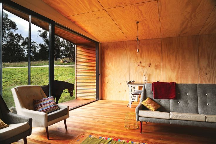 The off-grid pump house was built on a budget. The use of plywood as an easy to install cladding material helped to keep costs (and environmental impact) to a minimum.