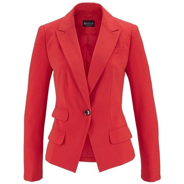 Laura Scott Blazer ($34) ❤ liked on Polyvore featuring outerwear, jackets, blazers, red blazer and red jacket
