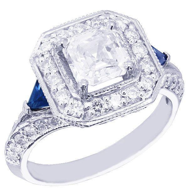 18k white gold asscher cut and triangle sapphire