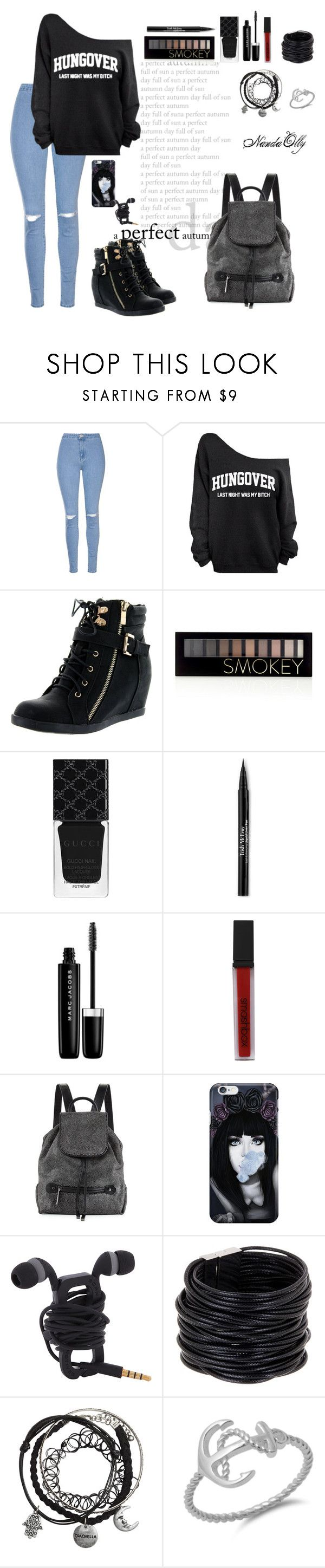 """""""Untitled #40"""" by nanda-olly ❤ liked on Polyvore featuring Glamorous, Top Moda, Forever 21, Gucci, Trish McEvoy, Marc Jacobs, Smashbox, Halston Heritage and Saachi"""