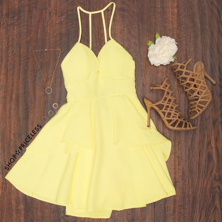 - Details - Size Guide - Model Stats - Contact Going to a gala? You'll look fancy enough for one in this Gala Dress in yellow! Featuring a knit fabric with slight stretch. Sweetheart bust with padding