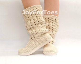 Ganchillo botas zapatos para el estilo Boho de calle mujer hecho a pedido de encaje botas                                                                                                                                                      Más