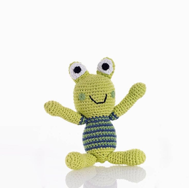 Please meet our adorable hand knitted crochet frog rattle toys, Freddo and Lily.Available in two colours; Lily the green frog and Freddo the blue one. You can make your selection from the drop down menu, or why not order one of each so they can keep each other company and go on adventures together! We offer free gift wrapping. We use stripy colourful paper bags and provide an off white strung gift tag on which we can hand write a message for you.With big friendly eyes and a rattle inside…