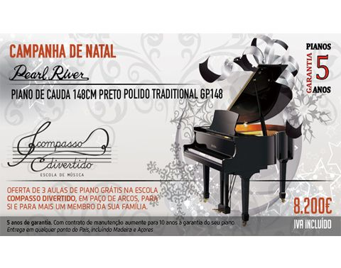 Piano Cauda Pearl River 148cm Preto Polido Traditional GP148 PE Preço Salão Musical: 8200.00€ Veja este piano no site do Salão Musical de Lisboa http://www.salaomusical.com/pt/piano-cauda-traditional-pearl-river-gp148pe-p439