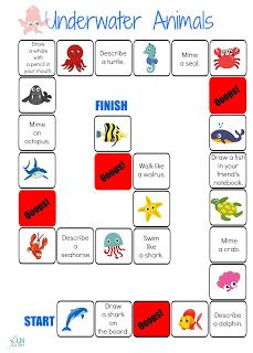 sea, ocean, water, underwater, animals, English,board, game, classroom, vocabulary