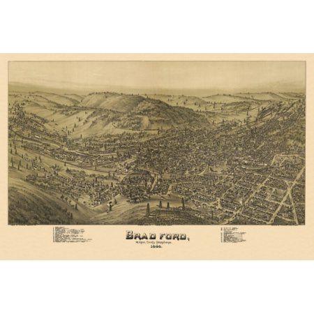 Vintage Map of Bradford Pennsylvania 1895 McKean County Canvas Art - (36 x 54)