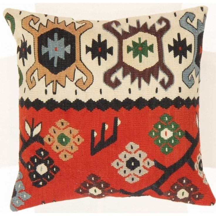 Pasargad Vintage Kilim Red/Ivory 16-inch Floral Throw Pillow
