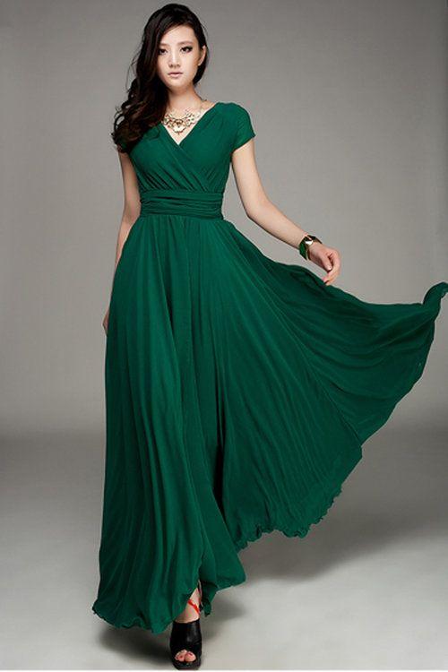 OASAP Maxi, Wrapped V-neck High Waist Maxi Dress, dark green, US8, OP27092 - $110