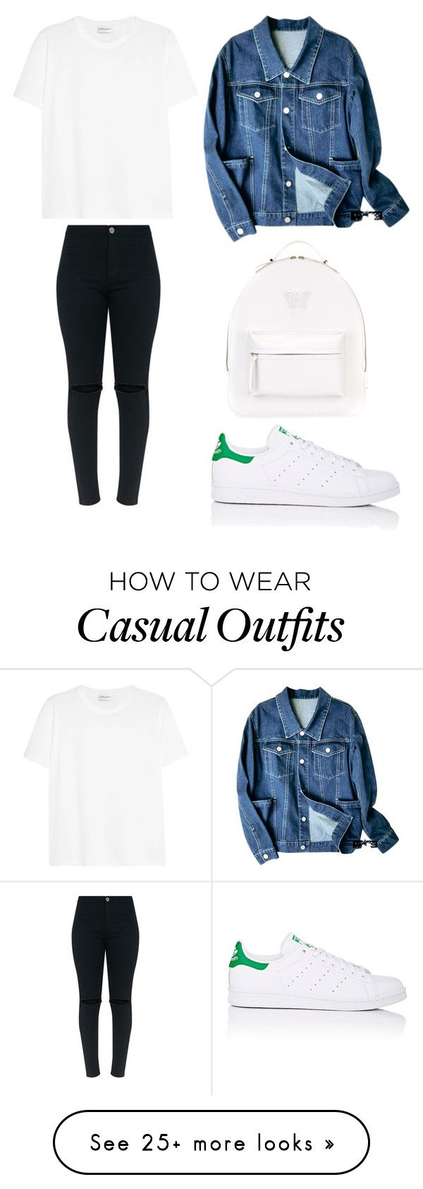 """""""Style #389"""" by maksimchuk-vika on Polyvore featuring Versace, adidas and Yves Saint Laurent"""