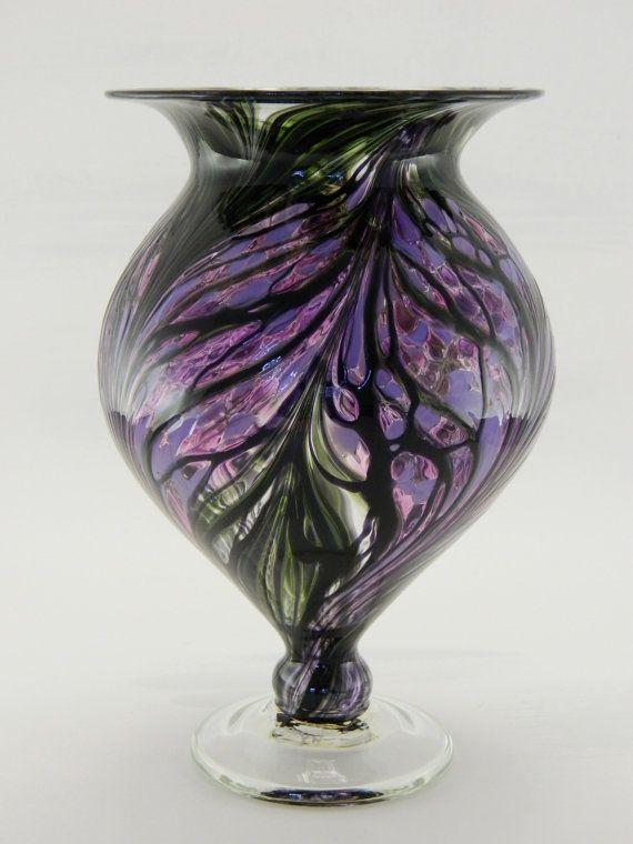 Hand Blown Art Glass Vase - Purple and Lavender $45.00