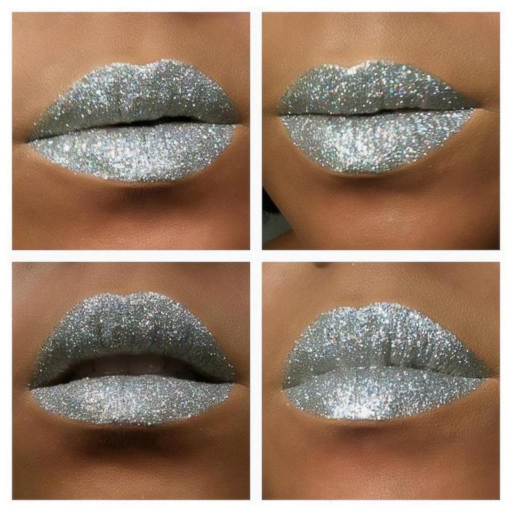 silver glitter lips