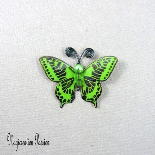 Papillon plastifié maéva vert et noir 5 cm