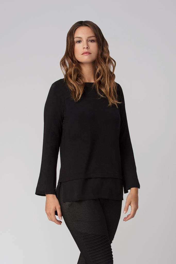 Womens Organic Bamboo Viscose Tops in black - LNBF Sustainable Clothing Designed in Canada