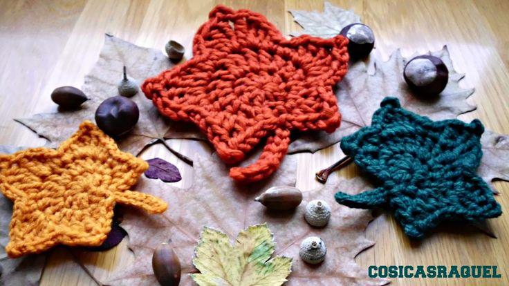 Hojas de Otoño a Crochet con Trapillo - Patrón Gratis en Español aquí: http://cosicasraquel.blogspot.com.es/2014/11/hojas-de-otono-crochet.html - Maple Leaf English Pattern here: http://happyberrycrochet.blogspot.com.es/2014/08/how-to-crochet-maple-leaf.html