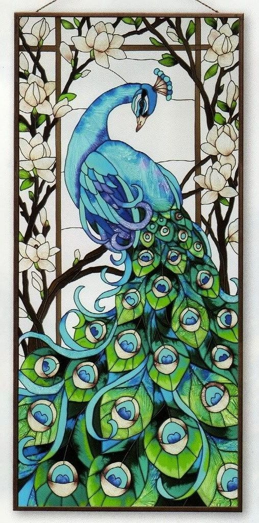 Peacock stained glass is stunning. Not just feathers and color scheme, but outside of the box.