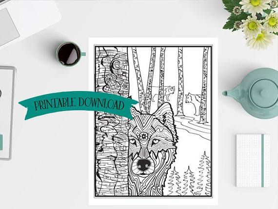 Coloring Page - Wolf and wolf pack with Symbolism // INSTANT DOWNLOAD // Manifestation and Meditation Colouring Page