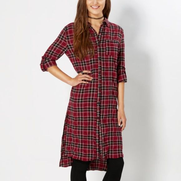 Burgundy Tartan Plaid Flannel Long Shirt Dress Aweasome extra long button down shirt style dress. Rolled sleeves and split side tens, totally trendy and cool. New with tags attached. Rue 21 Tops Button Down Shirts