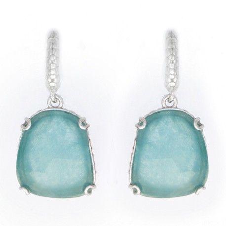 Pendiente en plata rodiada y jade green 17mm x 15mm ¡Sólo 29€! #Joyería #Jewelry #Plata #Silver