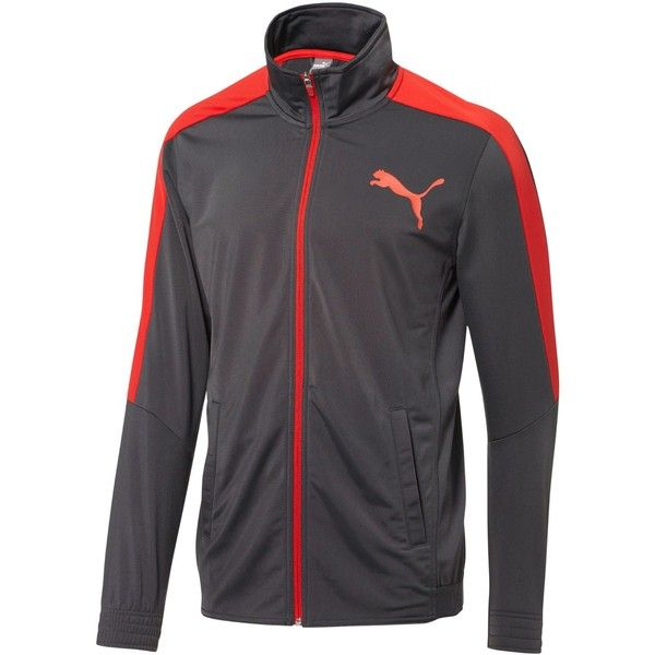 Puma Men's Contrast Track Jacket ($60) ❤ liked on Polyvore featuring men's fashion, men's clothing, men's activewear, men's activewear jackets, grey, mens track jacket, mens track tops and mens activewear