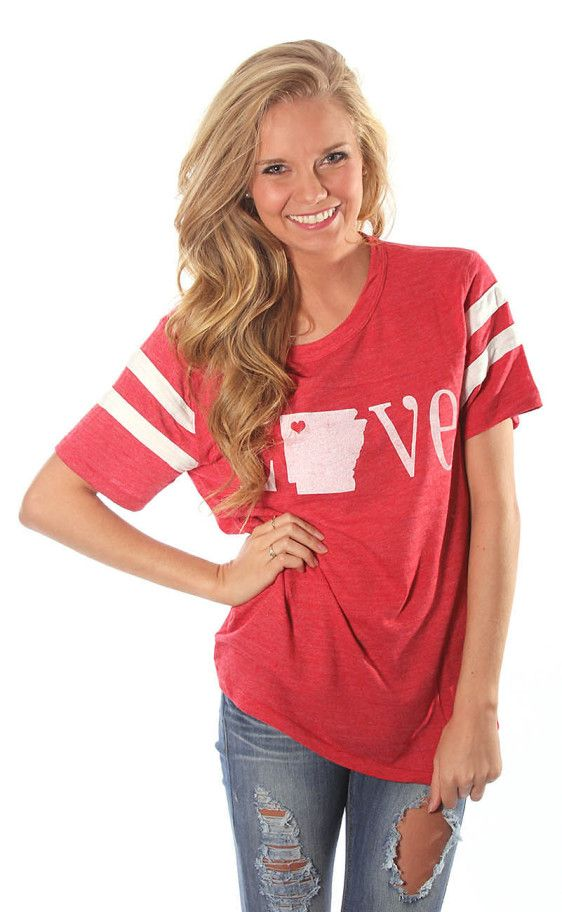 this is a cute tee to wear to see some Razorback Baseball! #omahogs #WPS #shopriffraff Riffraff | double stripe alternative retro love Arkansas - red