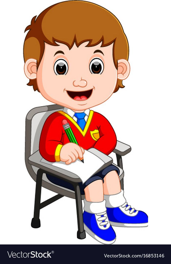 Boy Student Studying And Writing Vector Image On Ninos Escuela