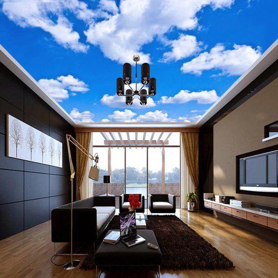 Cloudy Sky 3d Ceiling Blue Sky Clouds 3d Wallpaper 3d Ceiling Mural Fa Living Room Ceiling Wallpaper Blue Sofas Living Room Living Room Ceiling