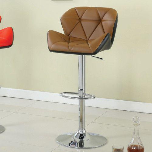 Hokku Designs Reza Adjustable Height Swivel Bar Stool with Cushion