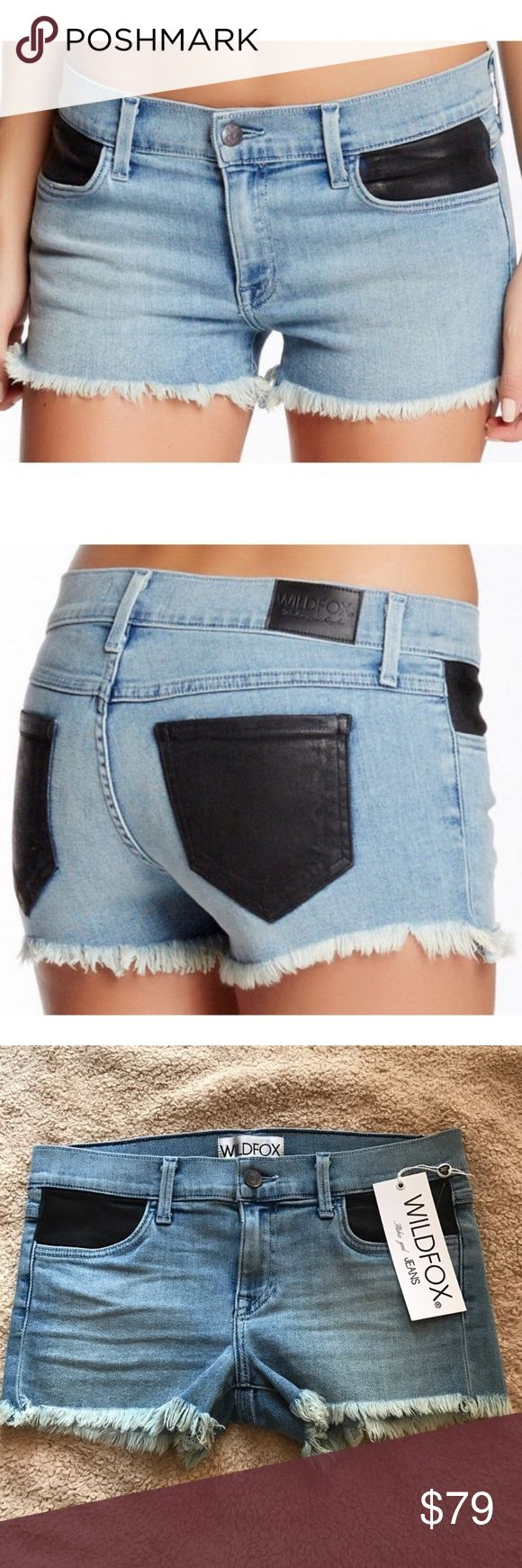 Wildfox the ruby w Faux leather pockets NWT Brand new never worn Wildfox Shorts Jean Shorts